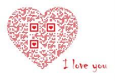 QR代码在心脏:我爱你 免版税库存照片