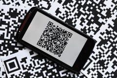 QR代码机动性扫描器 库存图片