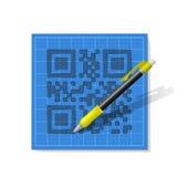 QR-código del bosquejo stock de ilustración