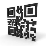 QR code. 3d render of a QR-code standing on a white background. Contains the words hello world Stock Image