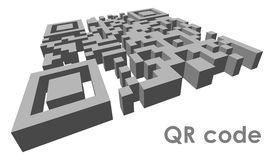 QR code. 3D QR code (abbreviated from Quick Response code) in perspective Stock Photos