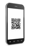 Qr code. 3d illustration of smartphone with qr code Stock Images