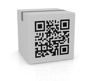 Qr code. One carton box with a qr code printed on a side (3d render Royalty Free Stock Photo