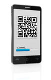 Qr code. One cell phone with a qr code on display (3d render Stock Photo