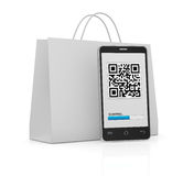 Qr code. One cell phone with a qr code on display and a shopping bag (3d render Stock Image