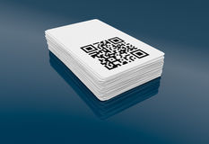 Qr code. Business card with qr code (3d render Royalty Free Stock Photo