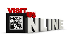QR Code 3Ds Visit Us Online. The Words Visit Us Online Where the O is replaced by a QR code of your choice (Currently translates to this is a QR Code). Can be Royalty Free Stock Images