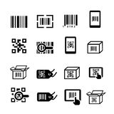 QR code and Bar code icons set. Scan coding, sticker identification. Royalty Free Stock Images