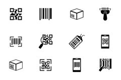 QR code and bar icons set Royalty Free Stock Photography