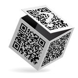 QR code on box. Illustration of QR code on open White Box Royalty Free Stock Photography