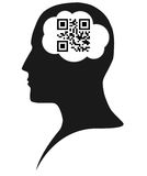 QR code brain. The word brain in QR code Stock Photography
