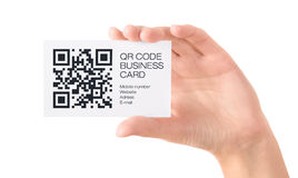 QR code business card in hand isolated Royalty Free Stock Photo