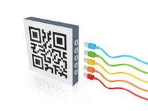 QR code and colorful patch cords. Stock Image