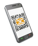 QR code concept. 3D concept with smartphone and QR code with the camera icon Stock Photo
