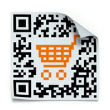 QR code concept. 3D concept with QR code label with the shopping cart Royalty Free Stock Image
