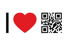 QR Code concept. QR Code design concept I Love QR Code Royalty Free Stock Photos