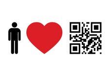 QR Code concept. QR Code design concept People Love QR Code Stock Image