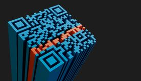 QR code. Detail, 3D illustration isolated on neutral background Stock Photo