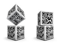 QR code dice. 3D render of dice with qr codes Royalty Free Stock Image