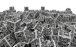 QR code dice pile vector illustration