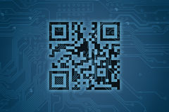 QR code on digital background Stock Photos