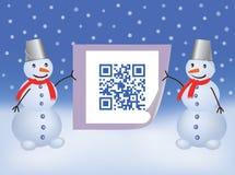 QR code Happy New Year. Snowmen holding paper with QR code Happy New Year vector illustration Royalty Free Stock Photos