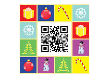QR code Happy New Year. Postcard with Happy New Year QR code vector illustration Royalty Free Stock Image