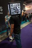 Qr code head man at Games Week 2013 in Milan, Italy Stock Photo