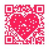 QR Code - Heart. QR code pixels make a pink heart Royalty Free Stock Photography