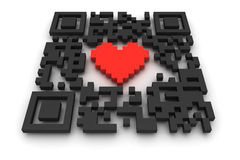 QR-code with heart Royalty Free Stock Image