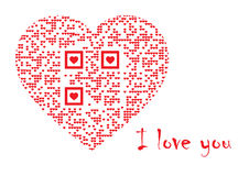 QR Code in heart: I love you. QR Code in heart with embedded text: I love you Stock Illustration