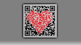 Qr code with a heart in the middle on a gray background. royalty free illustration