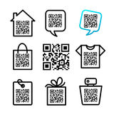QR-Code. 8 icons set Stock Photo