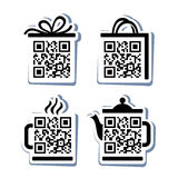 QR-Code. 4 icons set vector illustration