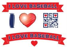 QR code: Ik houd van honkbal met rode banners Stock Foto's