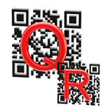 QR code illustration made of two codes Stock Images