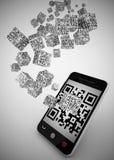QR code inzake mobiele telefoon Royalty-vrije Stock Afbeelding