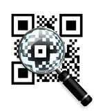 Qr code with  magnifying glass isolated over white Stock Image