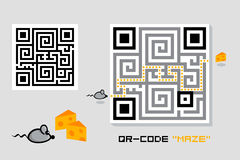 QR-code maze Stock Photo