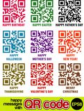 QR Code Messages. Happy messages with QR code Stock Photo