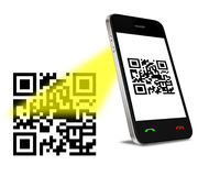 QR Code on mobil phone. Mobil phone reading QR code. Isolated on white Stock Photo