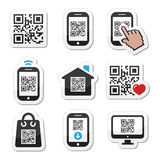 QR code on mobile or cell phone icons set Stock Image