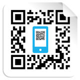 QR code mobile label. QR code label with the blue mobile icon. Vector file available Stock Images