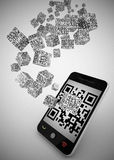 Qr code on mobile phone. 3d high quality render Royalty Free Stock Image