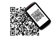 QR code mobile scanner Stock Images