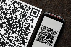 QR code mobile scanner Royalty Free Stock Photo