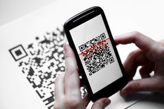 QR code mobile scanner Royalty Free Stock Photos