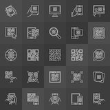 QR Code outline icons - vector set of scan codes signs. QR Code outline icons - vector set of technology scan codes linear signs on dark background Stock Photos