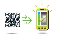 QR Code processing in cellphone. QR Code processing: Graphic showing cellphone processing QR codes. CMYK global process colors used. Organized by layers Stock Image