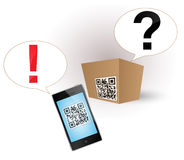 Qr code on the product. Cardboard box with a QR-code. Smartphone deciphered the QR-code Royalty Free Stock Images